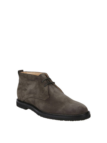 Tod's Men's Polacco Suede Leather Lace Up Desert Boot Shoes Dark Grey