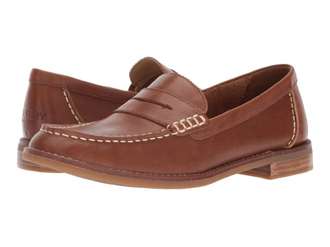 Sperry Seaport Penny Slip On Patent Loafer Shoe TAN