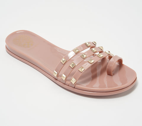 Vince Camuto Women's Elishenta Slip-on Studded Jelly Flat Slide Slipper BLUSH