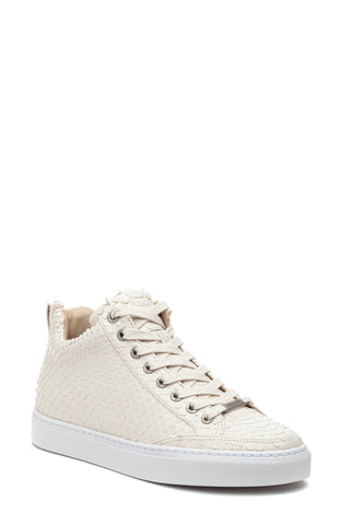 J/Slides Women's LEESA CUT Embossed Side-zip Sneaker Off White Embossed