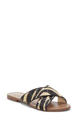 Jessica Simpson Women's Elaney2  Slip-On Flat Slide Sandal NATURAL/BLACK