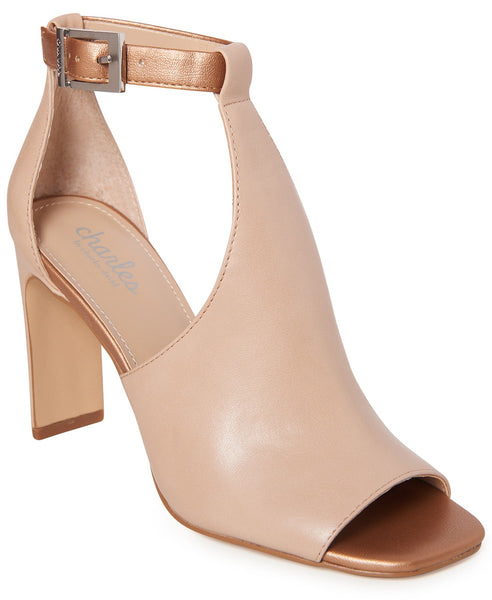Charles by Charles David Gabe Nude Rose Gold Block Heel Ankle Buckle Sandals