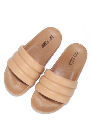 Cape Robbin Barrel Nude Puffer Sandals Slides Mules Slip On House Shoes