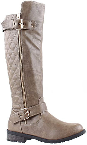 Forever Link Women's Mango-21 Lady Boot Taupe Vegan Knee High Qilted Boots