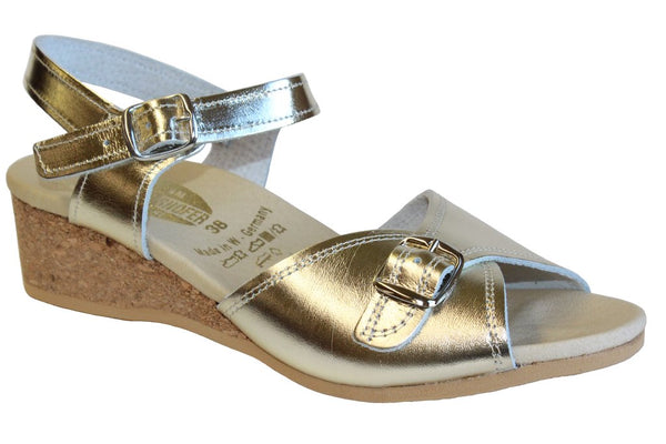 Worishofer Women's 711 Comfort Ankle Strap Sandal Gold Leather Granny Sandals