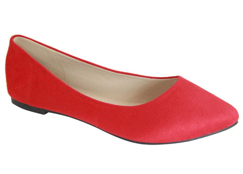 Bella Marie Angie Women's Classic Pointy Toe Ballet Slip On Flats Shoes, Red