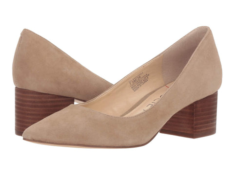 Sole Society Andorra Heel Slip On Block Heel Taupe Pointed Toe Dress Pumps