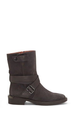 Louise et Cie Tandy Moto Round Toe Block Heel Boot BURNT TAWNY Mid Calf