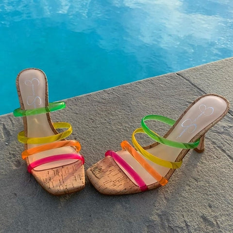 Jessica Simpson Oniela Slide Sandals Straps PINK COMBO