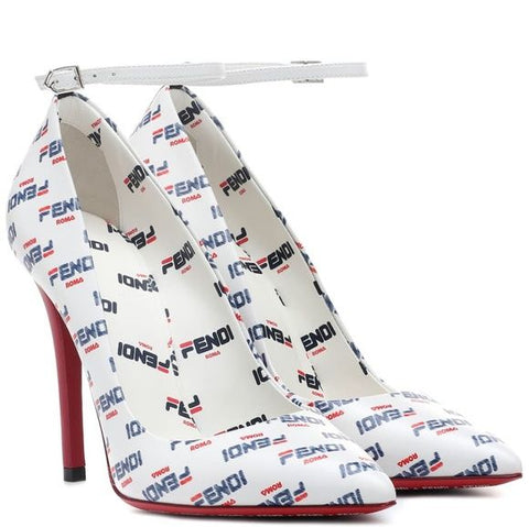 Fendi Women's Stiletto  Pump White Printed High Heel Pointed Toe Stiletto