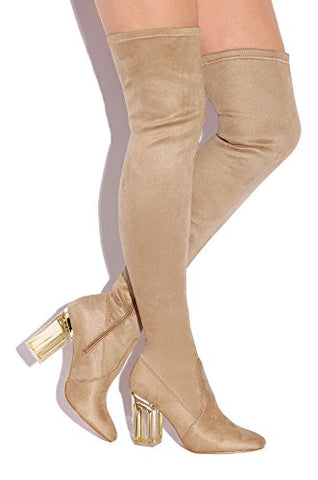 Cape Robbin Fay-2 Over The Knee Stretch Glass Heel Thigh High Boots (5.5, Nude suede)