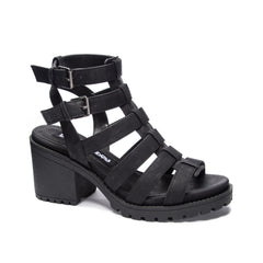 Dirty Laundry  Fun Stuff chunky Block Heeled Caged Sandal Black Vegan Leather