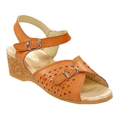 Worishofer Women's 811 Comfort Ankle Strap Sandal Tan Leather Granny Sandals