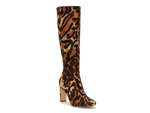 Louise Et Cie WALDRON Leopard Tall Stiletto Knee High Pointed Toe Leather Boots