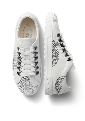 Tods Men's Tattoo-Inspired Sneakers-White Lace Up XXM0XY0W450S08B001