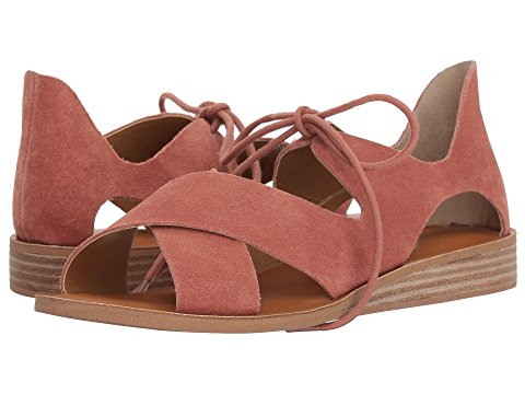 Lucky Brand Hafsa SANDY Fisherman Lace Up Cut-Out Wedge Flat Sandals