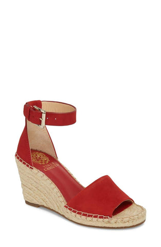 Vince Camuto Maaza Wedge Leather Espadrille Ankle Strap Sandals CHERRY RED