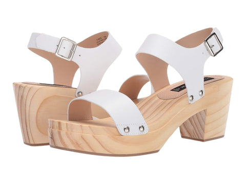 Steve Madden Women's Fabee Leather Wood Platform Sandals WHITE LEATHER