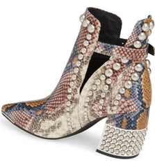 Jeffrey Campbell Rylan-BH Grey Wine Snake Silver Snakeskin-Embossed Leather Boot