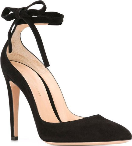 GIANVITO ROSSI Carla High Leather Pumps Black Suede Tie Up Dress Pumps