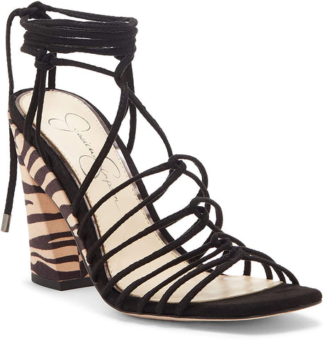 Jessica Simpson Women's Milaye Block Heeled Wrap-up Sandal BLACK