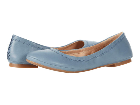 Lucky Brand Emmie Leather Ballet Flats Shoes BLUESTONE