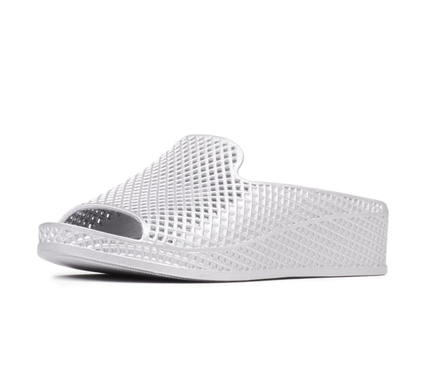 Jeffrey Campbell Womens Fling-2 White Textured Mesh Wedge Slide Sandals Mule