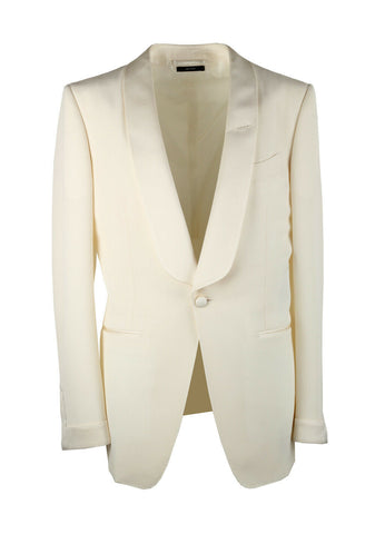 Tom Ford Men's Satin-trimmed slim-fit White tuxedo jacket IVORY 417R1111Y140