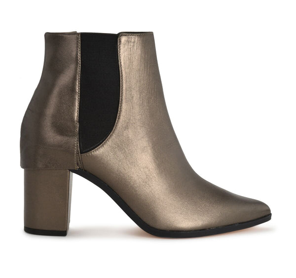 Schutz Dibny New Aco Pewter Leather Chelsea Block Heel Ankle Bootie