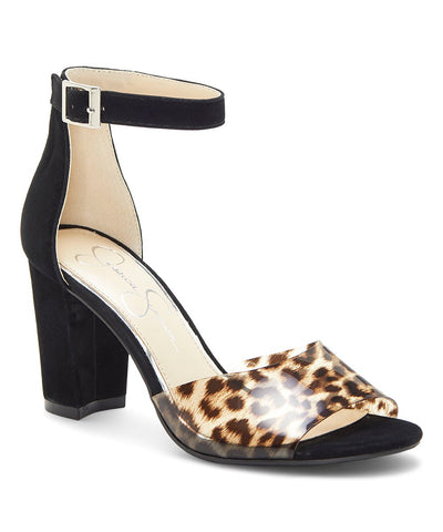 Jessica Simpson Women's Sherron Leopard Print Block Heel Sandals NATURAL/BLACK