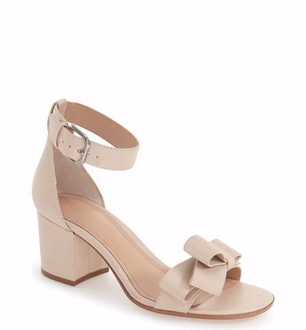 POUR LA VICTOIRE Aimee Parchment Nude Leather Chunky City Block Heel Bow Sandals