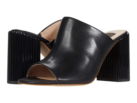 Louise et Cie Lillia2 Slip-on Block Heel Leather Mules BLACK