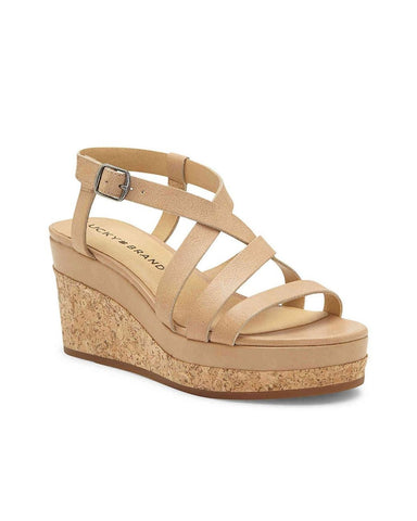 Lucky Brand Women's Batikah Strappy Wedge Cork Crisscross Sandal Stone