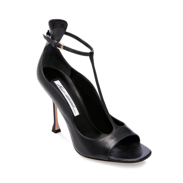 Brian Atwood SAMANTHA Sandal Black Leather Open Toe T-strap Pumps