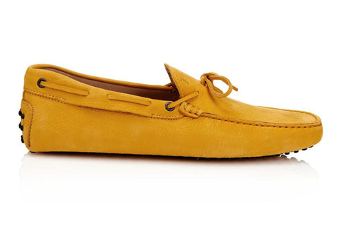 Tod's Mustard Leather Gommini Yellow Moccasin Loafer Shoes (5.5UK / 7 US)