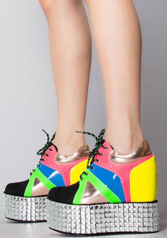 Cape Robbin UPROAR MULTI COLOR WEDGE BOOTIE DISRUPTOR CRYSTAL PLATFORM SNEAKER