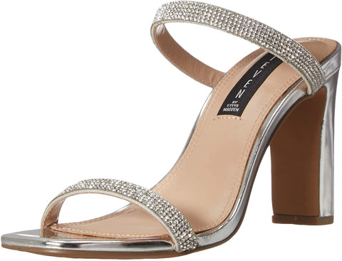 Steve Madden Women's JERSEY-R Slip-on Open toe Slide Heeled Sandal RHINESTONE