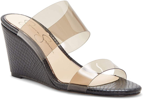 Jessica Simpson Women's Cilvey Wedge Slide Slip on Sandal SMOKE Clear Mule