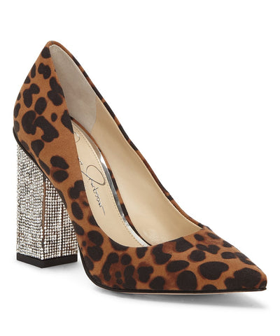 Jessica Simpson Welles Pointed-Toe Crystal-Embellished Pumps Natural Leopard