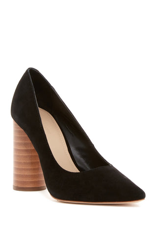 Pour La Victoire Cece Black Kid Suede Chunky High Heel Pointed Toe Dress Pump (9.5)