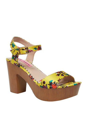 Betsey Johnson Penn Platform Dress Sandals YELLOW FLORAL Clog Platfrom Pumps