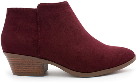 SODA Women's Round Toe Faux Suede Stacked Heel Western Ankle Bootie, Clay