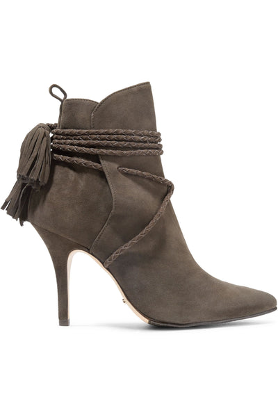 SCHUTZ Fadhila Hot Coffee braided tasseled lace-up suede ankle pointed boots