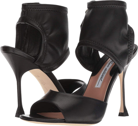 Brian Atwood STELLA Pumps Black Nappa Leather Stiletto Ankle Cuff Open Toe Sandals