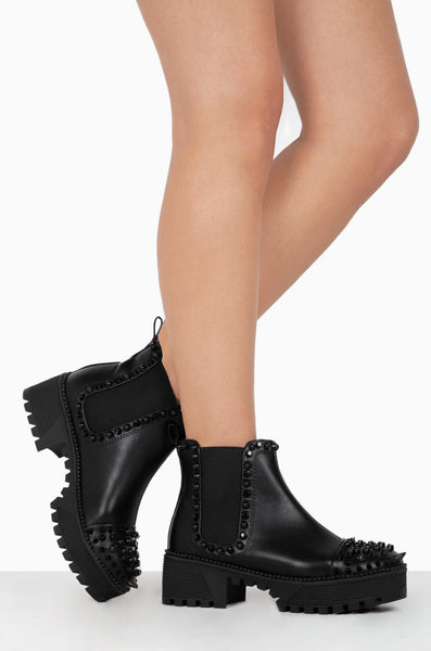 Cape robbin Spiky Rager Black vegan Leather Black Spikes Platform Chelsea Bootie