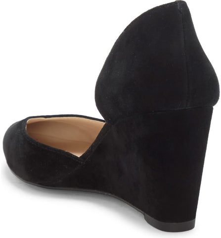 1.State Melman Black Suede Wedge Low Heel D'orsay Pointed Toe Dress Pumps