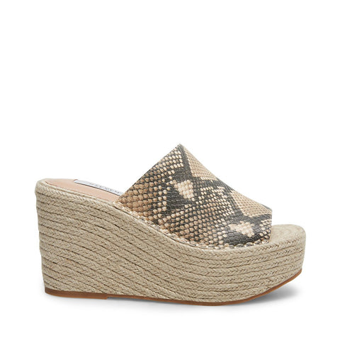 Steve Madden Women's Jog Croc Embossed Espadrille Wedges NAT MULTI