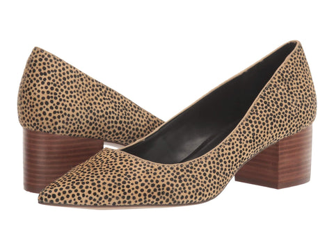 Sole Society Andorra2 Cheetah Slip On Low Block Heel Pump Black Tan