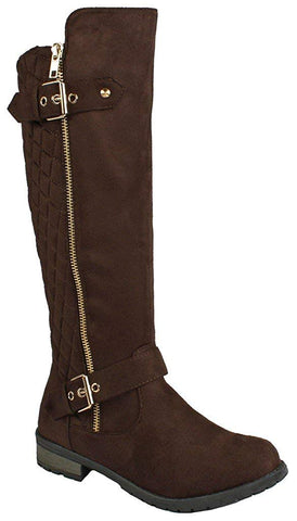 Forever Link Mango-23 Suede Two Buckles Knee High Brown Suede Riding Boots