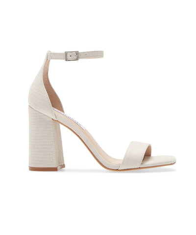 Steve Madden Women Dillion Ankle strap Heeled Sandal,Bone Lizard